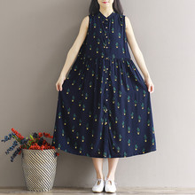 Newest Cactus Print Women Pleated Dress Sleeveless Stand Neck Button Style Midi Dresses Elegant Cotton Clothing Summer Autumn