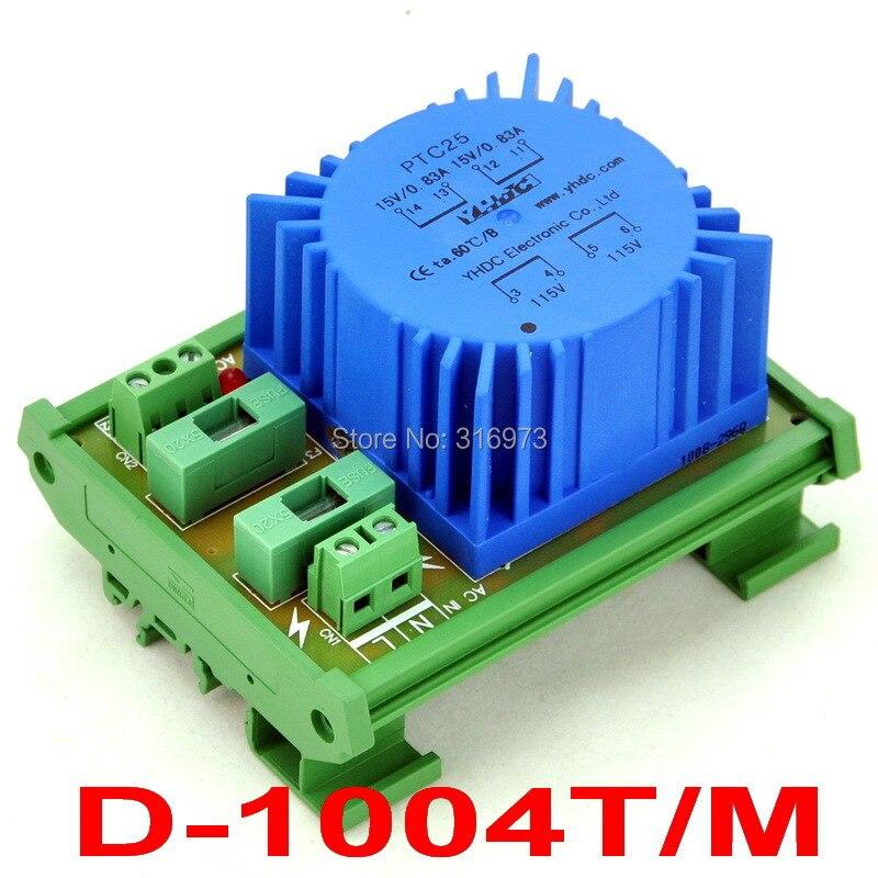 P 115VAC, S 15VAC, 25VA DIN Rail Mount Toroidal Power Transformer Module.