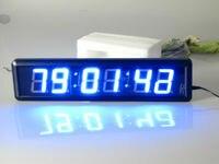 Fedex Free Shipping 1.8 Blue Mute wall clock living room wall clock timer digital wall clock led