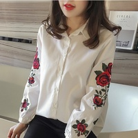 2017 Women Flower Embroidered Blouse Office Long Sleeve Striped Casual White Blue Shirts Tops