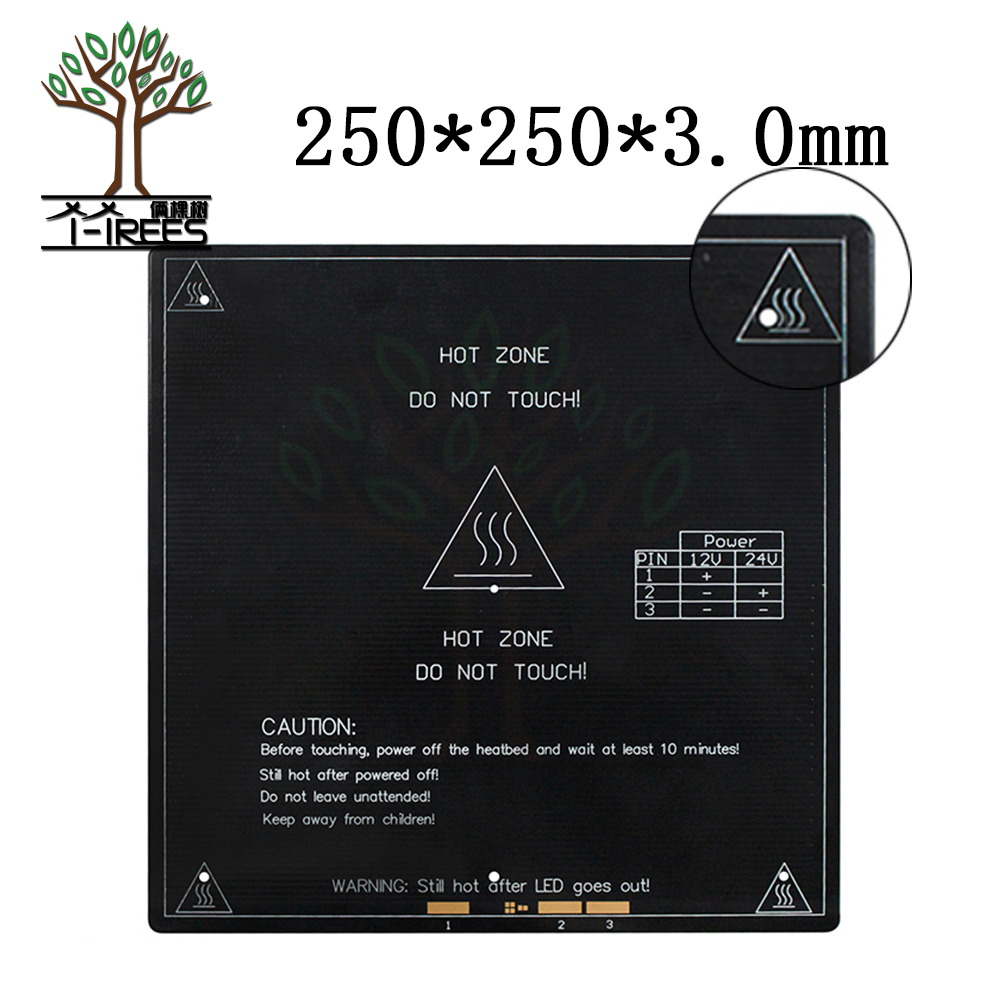 250*250*3mm 250x250mm large area printing size 12/24V double voltage heating hot bed heated bed plate 3D printer accessories 3d printer 3mm square pcb heat bed mk3 reprap hot plate dual voltage 12 24v