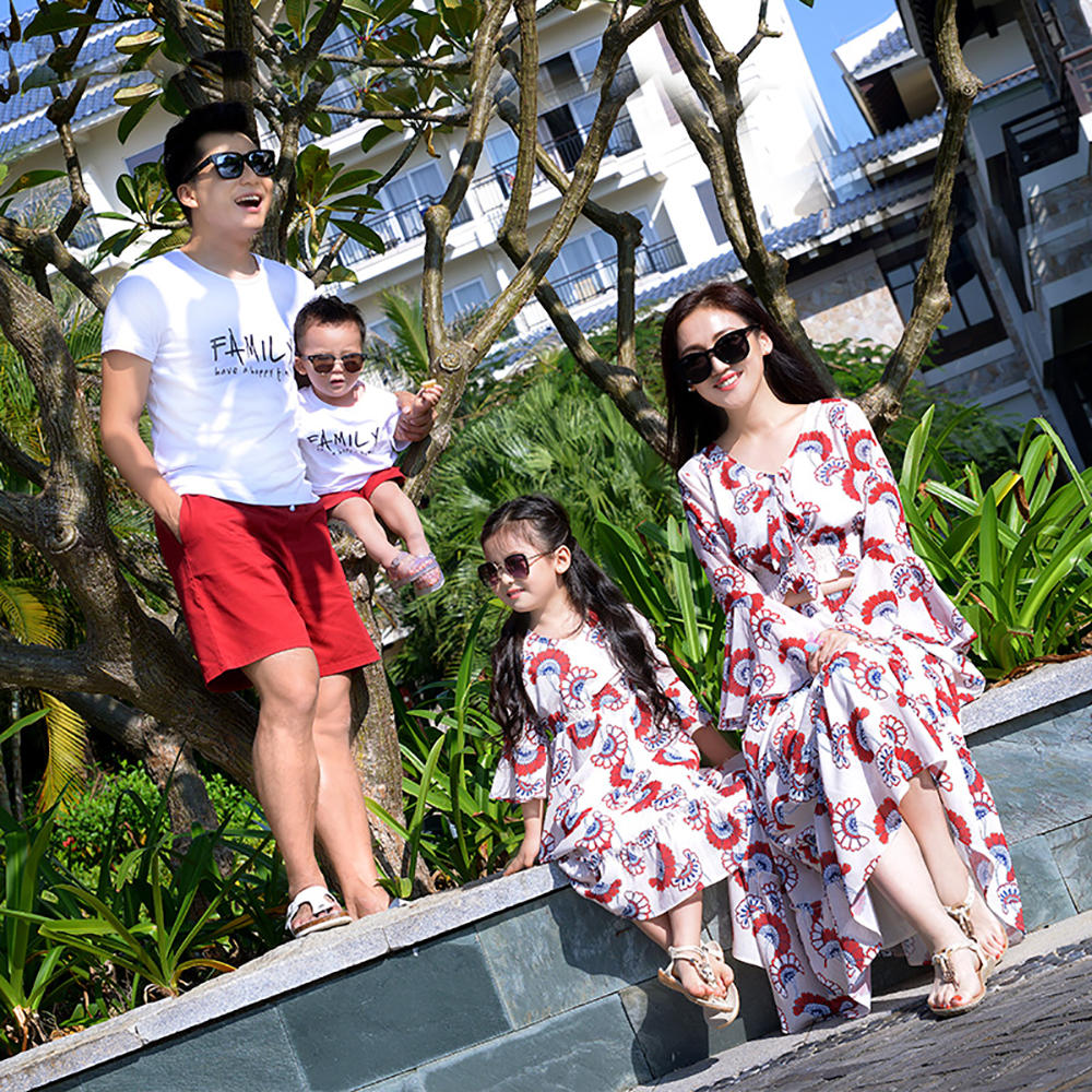 JY1827 Summer Fashion Casual family matching outfits clothes mother daughter dress Father Son short pants+Short Sleeve T-shirt купить недорого в Москве