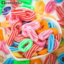 100 PCS Newly Good Elastic Hair Bands Mixed Band Kids Colorful Random Stripe Double Color Accessories