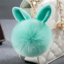 Bunny Key Chains Pom Pom KeyChain Artificial Rabbit Fur Ball Key Rings Porte Clef Pompom Car pendant Pompon Bag Charms Jewelry