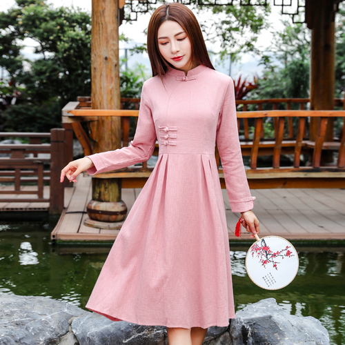 Autumn Literature Art Pink Cotton Linen Improved Cheongsam Women Dress 2018 New Style Stand Collar Female Fashion Dresses A line