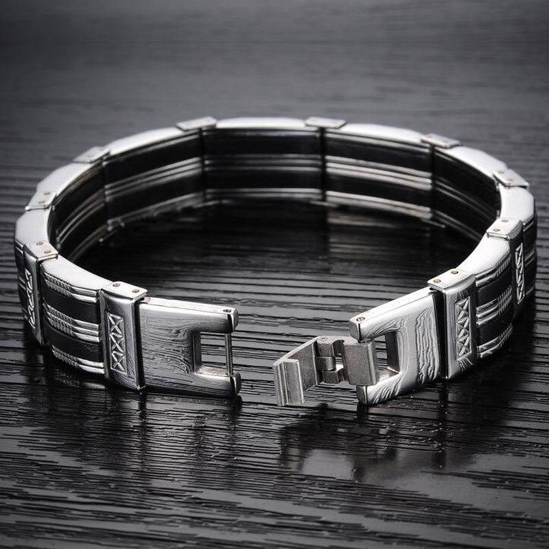 Men Bracelet High Quality Stainless Steel & Black Silicone 1
