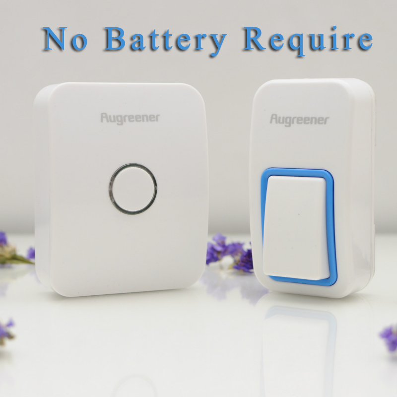 Newest No Need Battery Smart Doorbell White Waterproof Wireless Door bell, EU/UK/US Plug-in With Free Shipping cacazi wireless cordless doorbell remote door bell chime one button and two receivers no need battery waterproof eu us uk plug