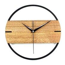 Hot Vintage Wandklok Eenvoudige Modern Design Houten Klokken Voor Slaapkamer 3D Stickers Hout Muur Horloge Home Decor Stille 12 in