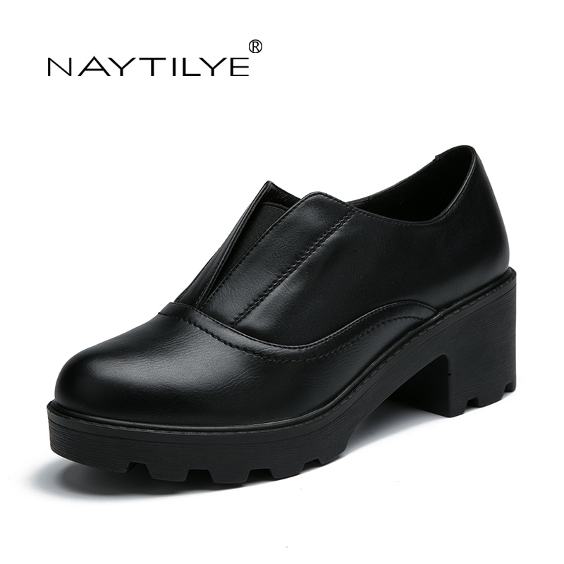 Women's Pumps 2017 PU Leather Casual Lace-Up Round Toe Spring/Autumn woman shoes 36-41 Free shipping NAYTILYE
