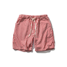 Japanese summer original mens striped shorts Harajuku style trend hit color wild red white black cotton loose casual
