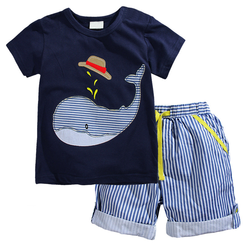 цены  2017 New Summer Kids Clothes Children Clothing Baby Boy Clothes Set Toddler Baby Boys Clothing Set Cotton Knitted Striped Shorts