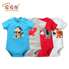 Children's Pajamas Boys&Girls Baby Rompers Short Sleeve Cotton O-Neck 6-24M Novel Newborn Roupas de bebe Baby Clothes Body suit(China)