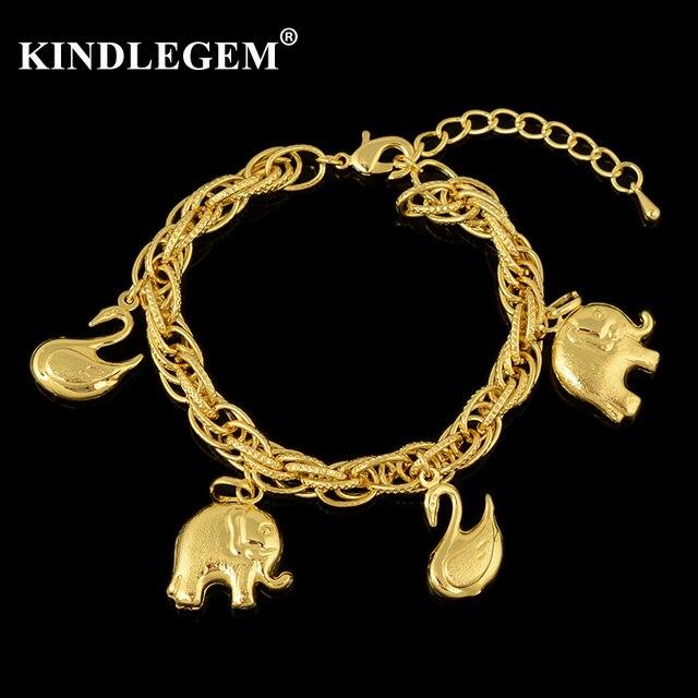 Kindlegem оптовая продажа Италия 750 чистая Золотая цветная прелесть браслет для женщин вечерние ювелирные изделия Слон Лебедь большие браслеты с каплями
