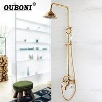 Новая мода Роскошные золотые латунь смеситель для душа Установить один Керамика ручка Ванна смеситель водопад ручной душ с ручным спрей