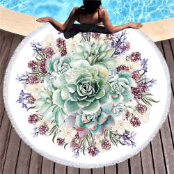 Plant Printed Big Round Beach Towel for Adults Microfiber 150cm Summer Swimwear Women Large Beach Cover Up Bath Towel Toalla Mat