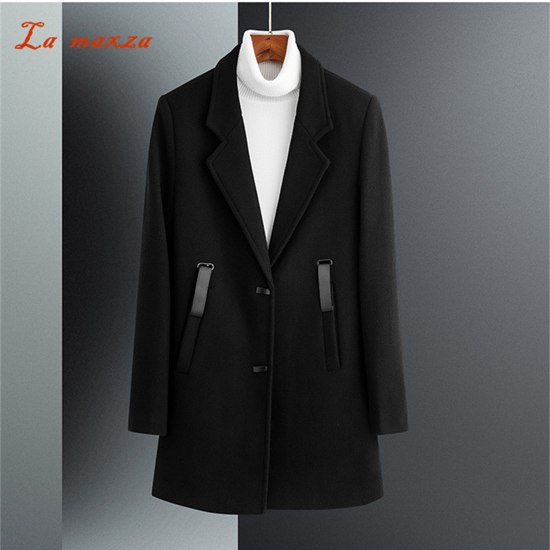 Wool Mens Dress Overcoat Winter Pockets Korean-Style Casual Fashion Smart