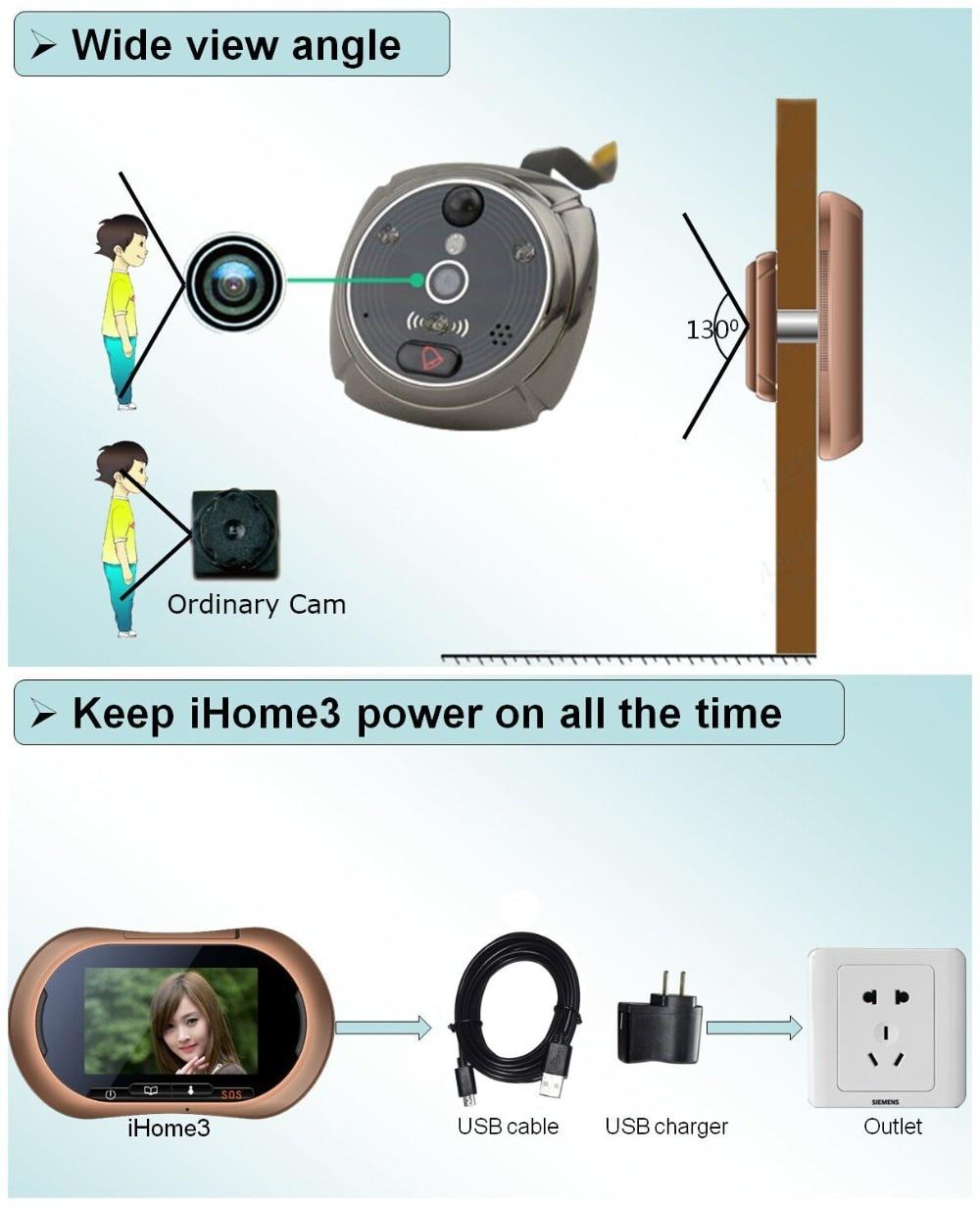 """Купить с кэшбэком WiFi Digital Peephole Door Viewer - Willful 3.7"""" LCD Touch Screen Front Door Peephole Camera Wifi Doorbell with Intercom Black"""