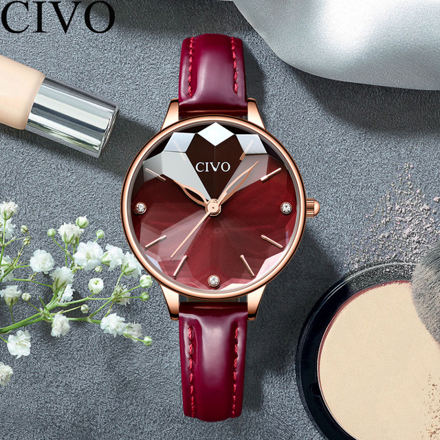 CIVO יוקרה נשים שעונים קוורץ שעון עמיד למים אמיתי עור Strape צמיד יהלומי גבירותיי שמלת שעוני יד שעון