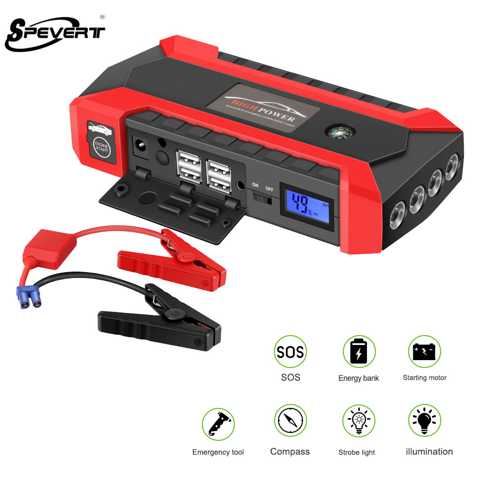 SPEVERT Super Power Car Jump Starter Power Bank 13600mAh Portable Battery Booster Charger 12V Starting Device Petrol Diesel Car super power car jump starter power bank 11000 portable car battery booster charger 12v starting device petrol diesel car starter