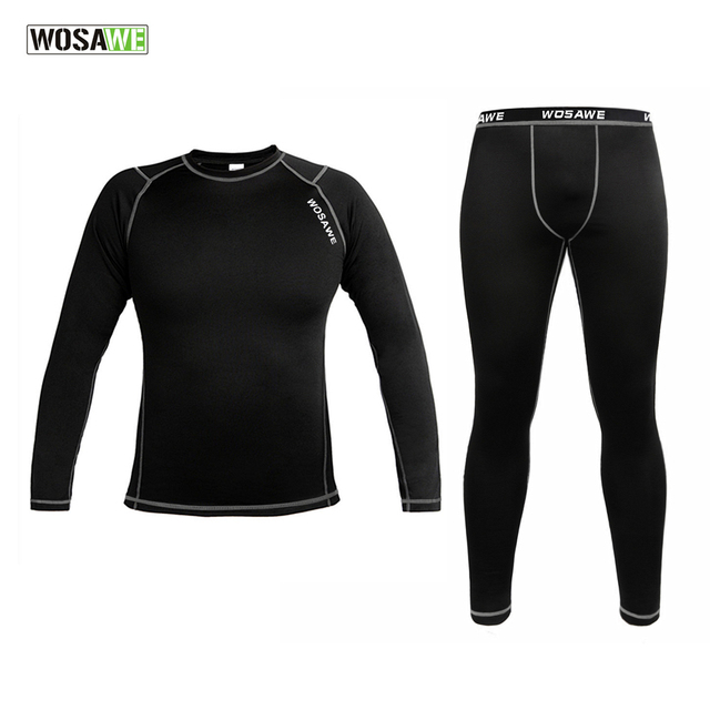 WOSAWE Men Thermal Fleece Base Layer Compression Clothing Under Wear Cycling Bike Long Sleeve Jersey Winter Running Tights