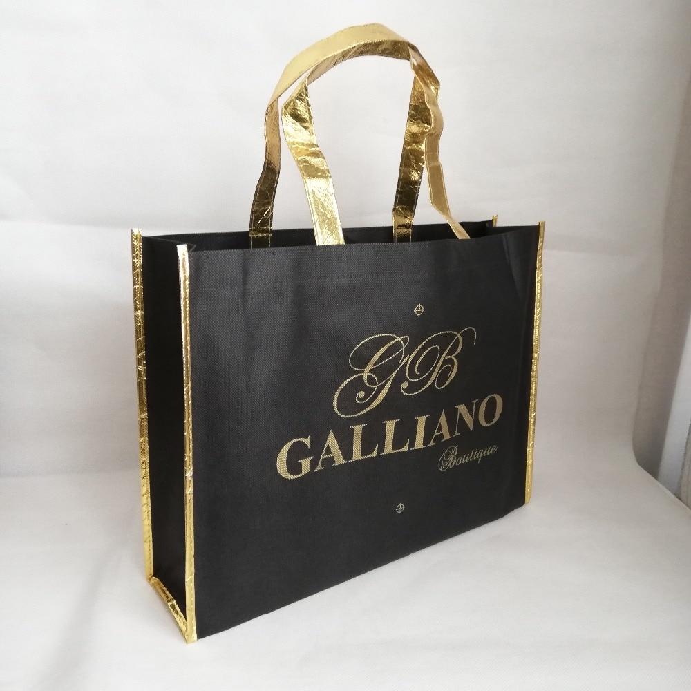Bagaj ve Çantalar'ten Alışveriş Poşetleri'de 500 adet/grup 30Hx40x10cm özel Logo çanta metalik lamine parlak altın taraf ve kolu siyah olmayan dokuma alışveriş çantaları ticaret fuarı için'da  Grup 1