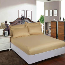 Hotel 100% Cotton Satin Fitted Bed sheet Stripe Mattress Cover Four Corners With Elastic Band 12 Colors