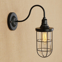 American Village Style Industrial Wall Lamp Glass Shade Metal Iron Black Vintage Switch Simple Design Indoor Bar Bedroom Lights