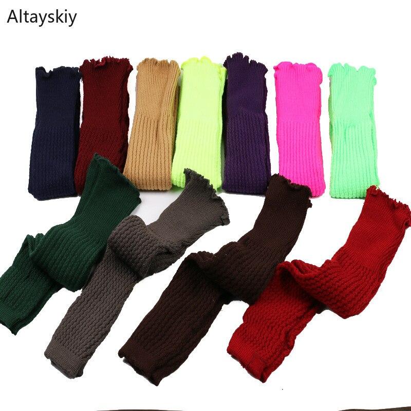 Гетры женские, в Корейском стиле, универсальные, зимние, теплые, модные, женские, длинные, выше колена, простые, женские, для отдыха, цветные