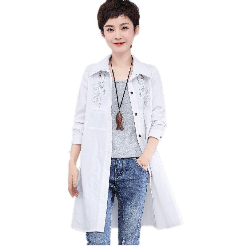2019 printemps nouveaux vêtements de protection solaire pour les femmes mode dames crème solaire chemise broderie grande taille 4xl femme blouse hauts