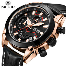2019 New MEGIR Men's Fashion Sports Quartz Watch Men Leather with Chronograph Mens Watches Military Waterproof Sport Wrist Watch(China)