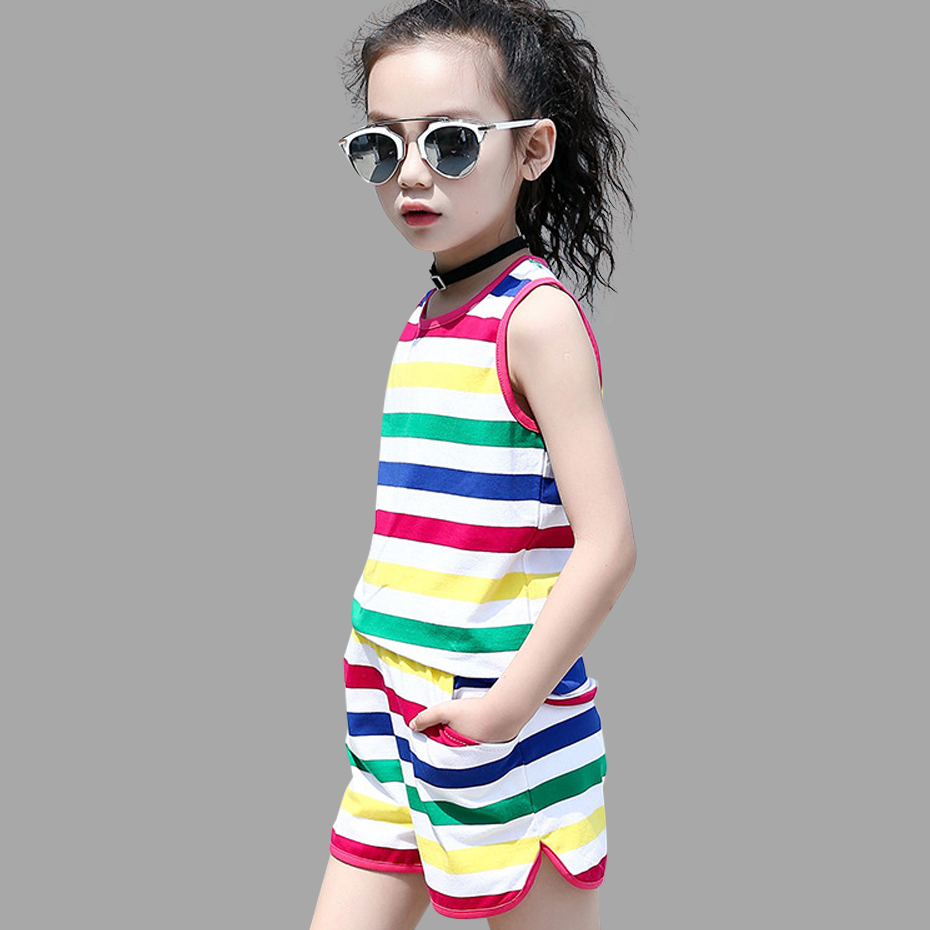 Summer Girls Clothes Set Teenage Kids Clothes Children Clothing Rainbow Girls Sets Cotton Girls Clothes 6 8 10 12 14 Year