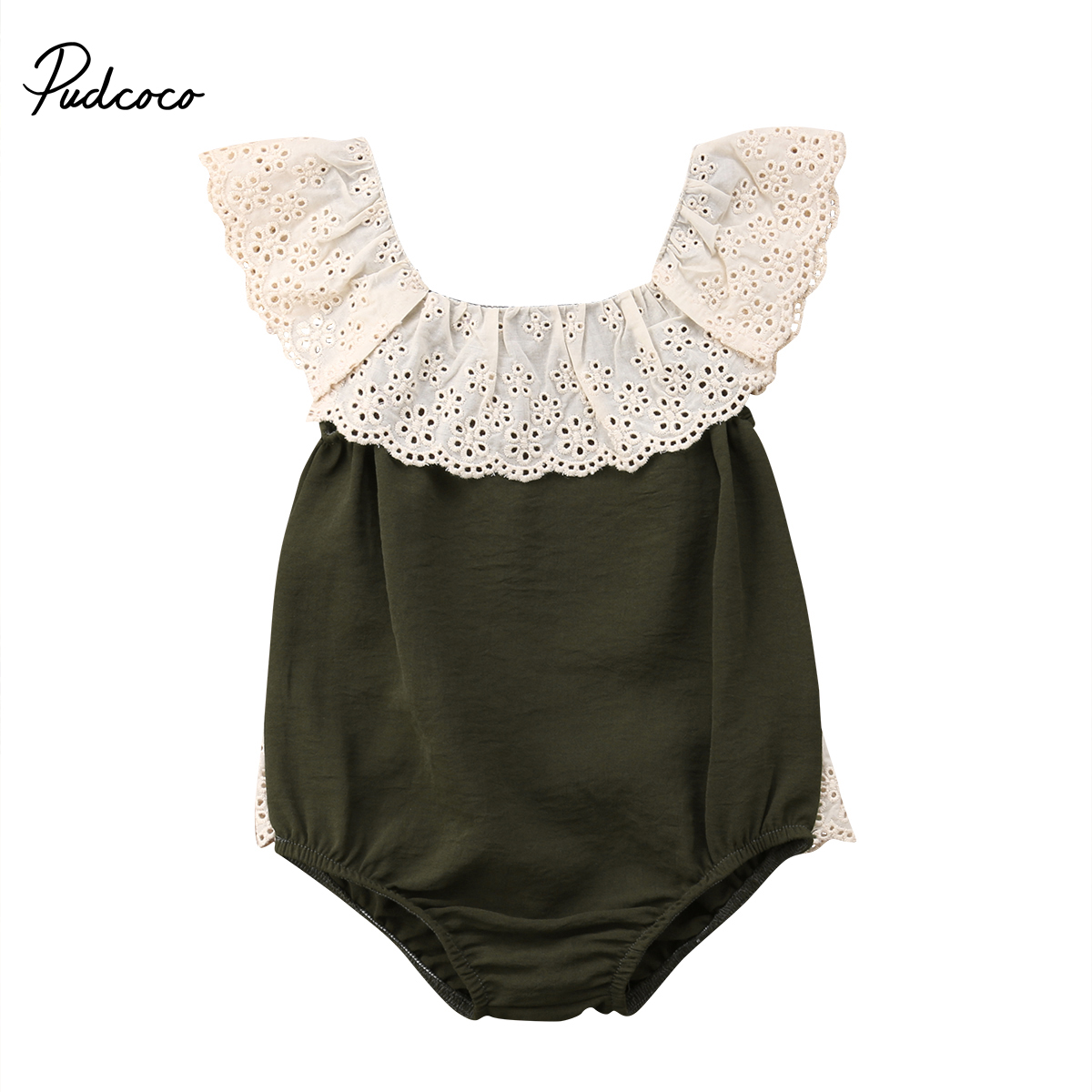 Pudcoco 2018 Todder Infant Baby Girl Kid Jumpsuit Bodysuit Lace Rim Patchwork Sleeveless Square Collar Outfits Clothes New