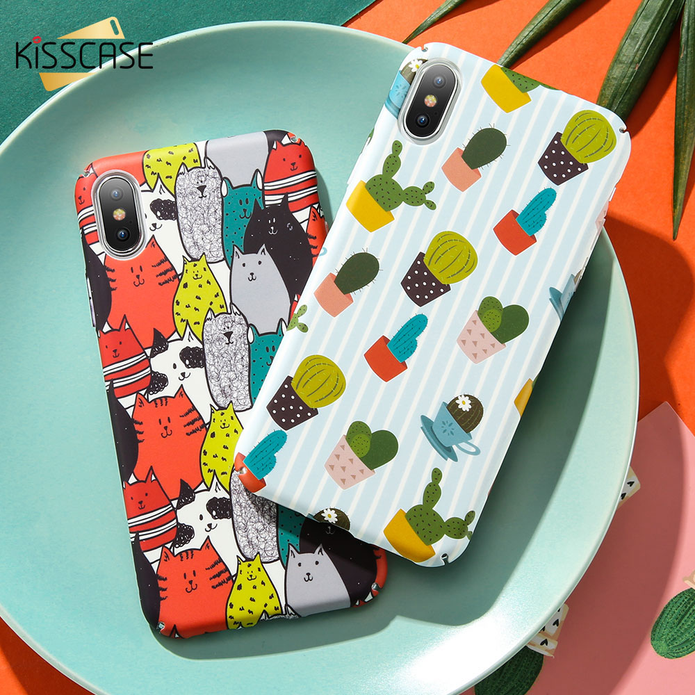 KISSCASE Cute Pattern Case For iPhone 7 8 6 6S Plus X Hand-painted Phone Cases For iPhone X XS Max XR 6S 7 8 Plus Hard PC Covers