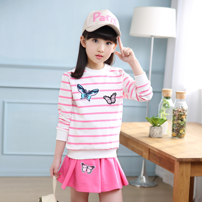 Spring Girl Suit Butterfly Embroidery A-line Skirt Two Pieces Korean Leisure Time Princess Kids Clothing Sets