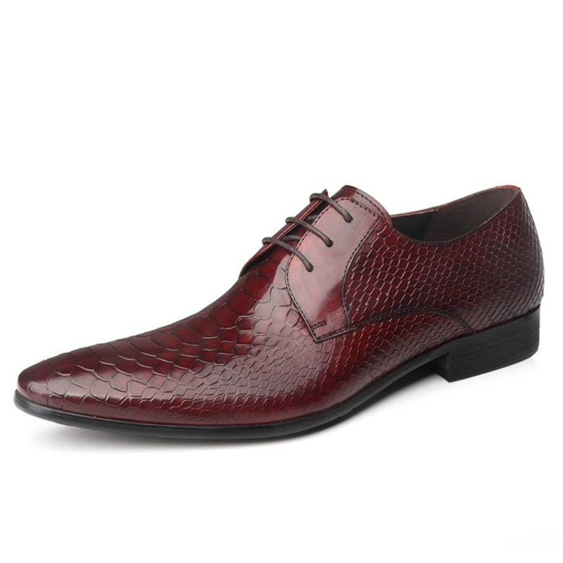 ФОТО 2017 New Products Men's British Style Formal Genuine Snakeskin Pattern Leather Pointed Toe Lace-Up Office & Career Men's Shoes