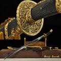 Полностью Tang Дамасская сложенная стальная глина-закаленное лезвие китайский Цин Дао меч полная рыба кожа Сая золотое покрытие фитинг