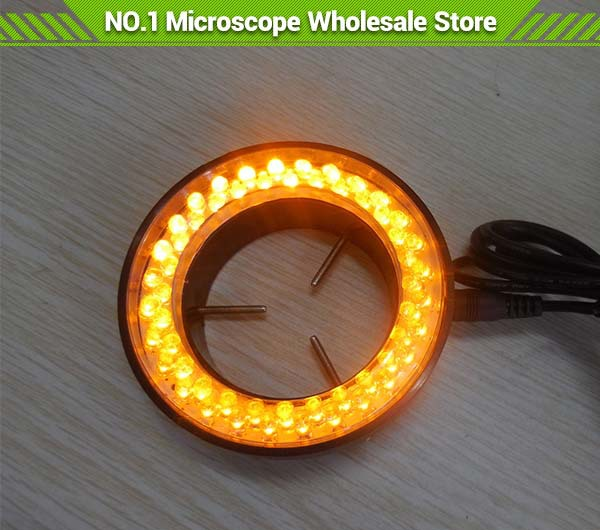 Yellow Light 60 Led Yellow Ring Lamps Microscope LED Circular Ring Light Microscopy Lighting with Adapter 220V or 110V blue light 60 led lamps stereo biological zoom microscope led circular ring microscopy lighting with adapter 220v or 110v