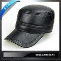 Homem moda Chapéu chapéu de Couro Genuíno dos homens Morno do Inverno Da Pele Chapéu Masculino Boné de Beisebol Ajustável Chapéu Presente de Ano Novo B-4547