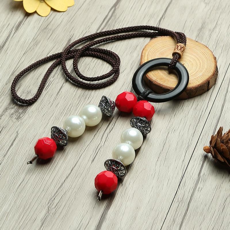Vintage Women Pendant Necklace Circle Beads Long Sweater Chain Literary Sen Department Ethnic Necklaces Pendants Jewelry