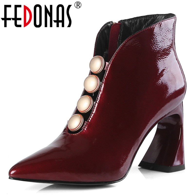 FEDONAS Fashion Women Beading Party Wedding Shoes Woman Strange High Heels Pointed Toe Prom Pumps Ladies Zipper Basic Ankle Boot new women pumps fashion cut outs galdiator pointed toe high heels shoes woman party wedding ladies ankle strap shoes size 35 40