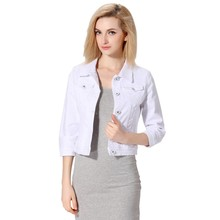 White And Black Denim Jacket Women Short Jeans Overcoat Ladies Jackets Tops Slim Jeans Turn Down Collar Top For Women