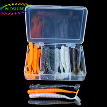 WLDSLURE 24pcs/box Artificial Silicone Worm Fish Baits Loach Fishing Soft Lures with Free Tackle Box Rubber Wobbler Lure