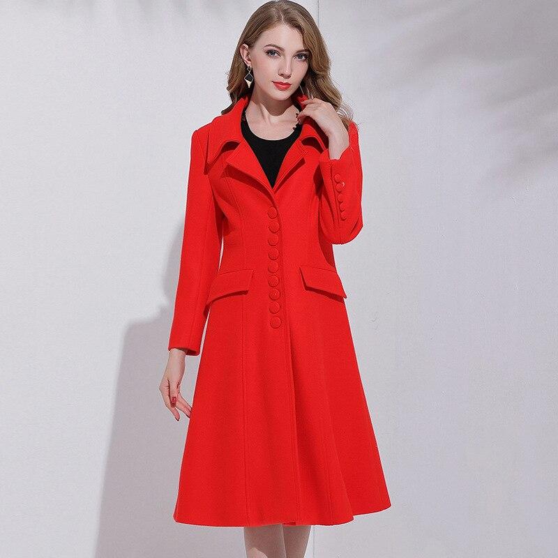 ACRMRAC Mulheres mangas Compridas Longa seção Magro vermelho Único Breasted Misturas De Lã casaco De Lã casaco