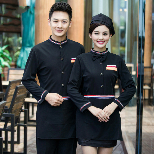 Hotel Waiter Uniform Women Long Sleeve Food Service Outfit