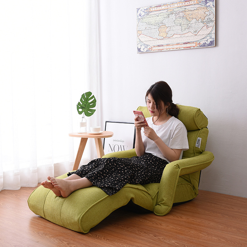 Floor Foldable Chaise Lounge Chair Green Adjustable Recliner Living Room  Furniture Japanese Style Daybed Sleeper Sofa Armchair In Chaise Lounge From  ...