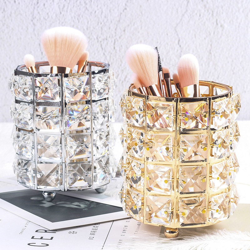Europe Metal Makeup Brush Storage Tube Eyebrow Pencil Makeup Organizer Bead Crystal Jewelry Storage Box(China)