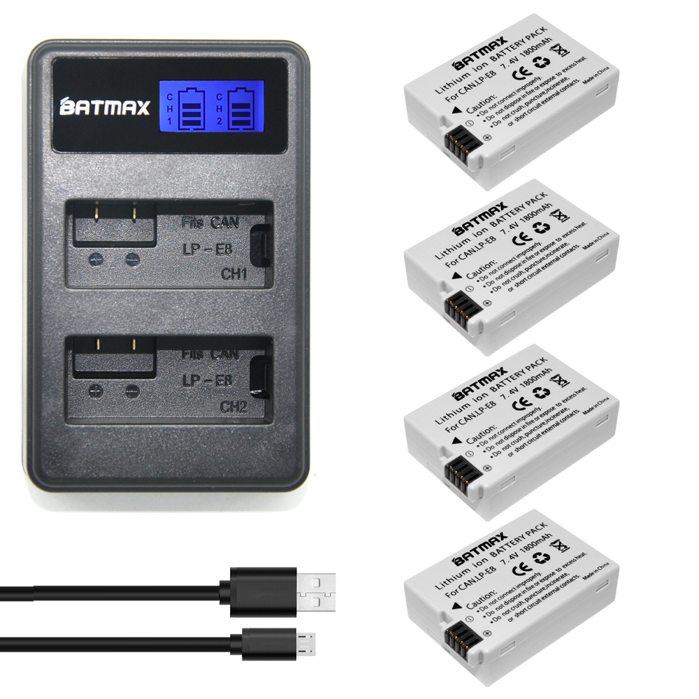 1800mAh 4Pcs LP-E8 LPE8 LP E8 Camera Batteries+LCD Dual USB Charger for Canon EOS 550D 600D 650D 700D Rebel X4 X5 X6i X7 2i T3i 2pcs lot 7 4v 1800mah lp e12 camera batteries lp e12 camera battery for canon eos m m2 100d kiss x7 rebel sl1 eosm eosm2 eos100d