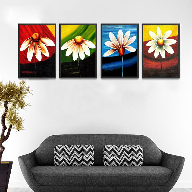 4PCS Bright <font><b>Elegant</b></font> Flower Canvas Painting Realist Flower Wall Painting <font><b>Home</b></font> <font><b>Decoration</b></font> Livingroom Art Picture Canvas Prints