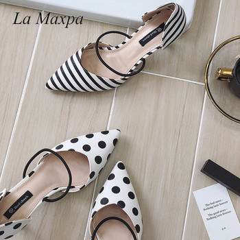 La MaxPa Summer Polka Dot Women Sandals Pointed Toe Women Stripe 6cm Thin Heel Ladies Slippers Comfortable Slip On Shoes Pumps