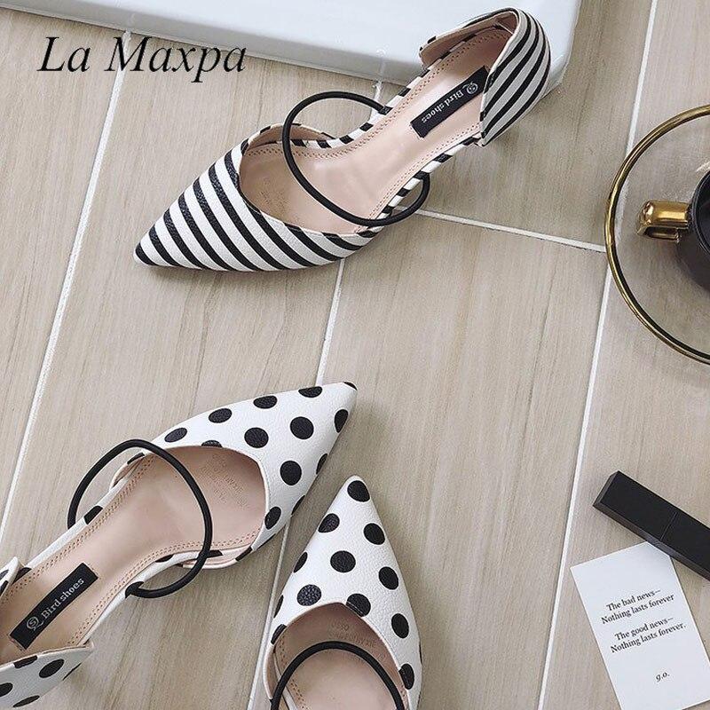 La MaxPa été à pois femmes sandales bout pointu femmes rayure 6 cm talon mince dames pantoufles confortable sans lacet chaussures pompes